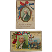 Pair George Washington Commemorative Presidents Day Postcards