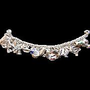 Vintage Silver Charm Bracelet, 1960's