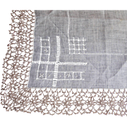 Fancy Early Century Hanky with Pull work