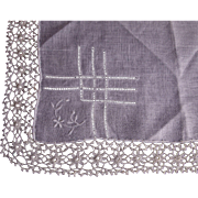 Fancy White Hanky with Pull work and Tatting Edge