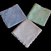 Set of 3 Pastel Stitched Hankies