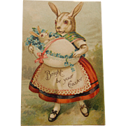 Early Easter Postcard,Humanized Bunny,1908