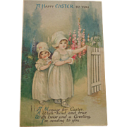 Easter Postcard with Little Girls