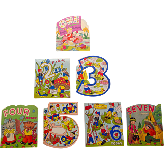 Child's Birthday Cards,1-7,NOS