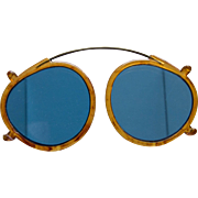 Vintage Clip Over Blue Lense Eyeglasses