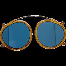 Vintage Clip Over Blue Lense Eyeglasses