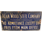 Early century Alan Wood Steel Enameled Sign