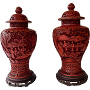 Pair Large Apothecary Chinese Cinnabar Jars