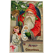 Santa Postcard with Glitter