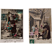 Pair Early Century French Santa Postcards