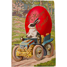 Early German Easter Postcard with Bunny in Car