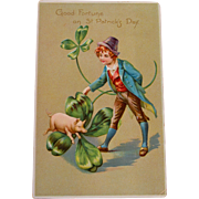 St Patrick's Day Postcard with Pig, 1907