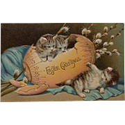 Early Easter Postcard with Kittens