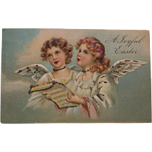 Early German Easter Postcard with Cherubs- mercury glitter