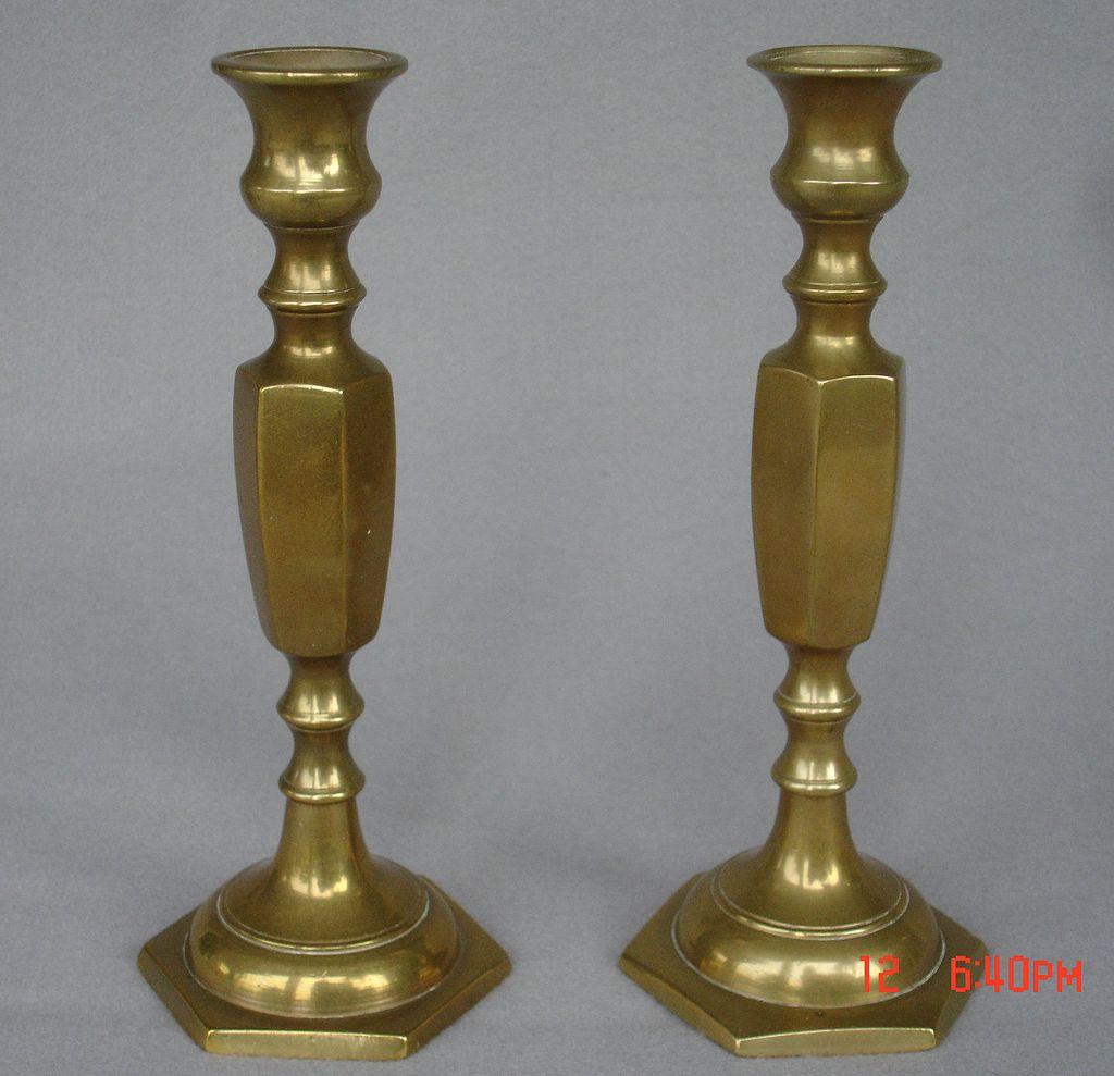 Pr. Brass Candlesticks, England-