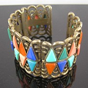 Poured Glass Hinged Cuff Bracelet