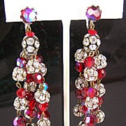 "Glorious Red & Rhinestone 3"" 5-Strand Dangle Earrings"
