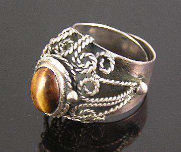 Mexican Sterling Silver Faux Tiger's Eye Poison Ring