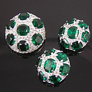Jomaz Domed Emerald Rhinestone Brooch & Earrings