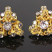 Miriam Haskell Hand Wired Filigree Earrings
