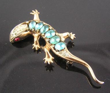 Coro Craft 1940's Sterling Salamander Brooch