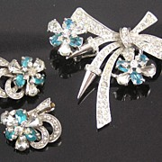 Pennino Sterling Rhinestone Brooch & Earrings