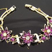 Kramer Purple Rhinestones & Baguettes Flower Bracelet