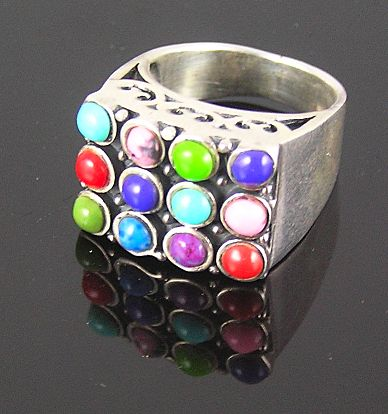 Sterling Silver Pink, Purple, Red, Green, Blue Cabochons Ring
