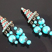 Hobe Faux Turquoise & Coral Dangle Earrings