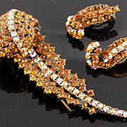 Hollycraft Amber & AB Rhinestone Feather Fur Clip & Earrings