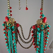 Amazing Turquoise & Coral Thermoset Circa 1960's to 1970's Breast Plate Necklace
