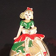 Girl on a Globe Enameled 1941 Fur Clip
