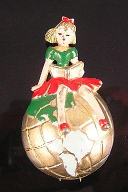 Girl on a Globe Enameled 1941 Fur Clip