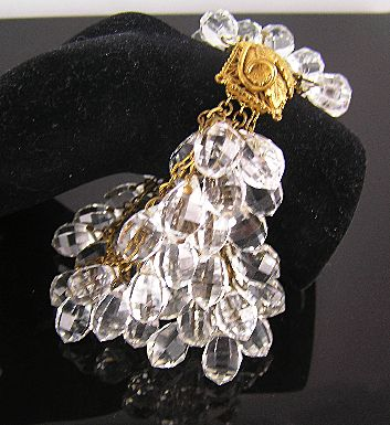 Spectacular Bohemian Glass Crystal 6-Strand Elaborate Clasp Brass Bracelet