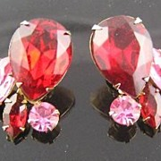 Beau Jewels Red & Pink Rhinestone Earrings