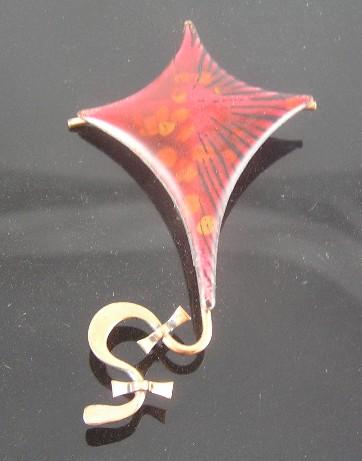 Matisse Renoir Copper Red Enameled Kite Figural Brooch
