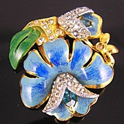 Unsigned Coro Blue Enamel  & Rhinestones Lotus Flower Dress Clip