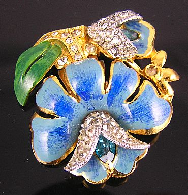 Unsigned Coro Blue Enamel  & Rhinestones Lotus Flower Dress Clip