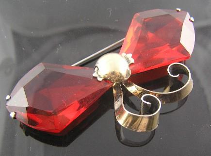 Red Retro Vermeil Bow Brooch