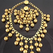 Brass Book Chain Textured Dangles Bib Circa 1970's Necklace & Bracelet