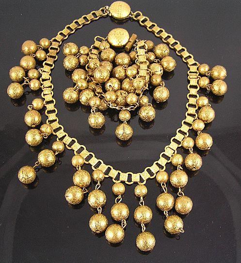 Brass Book Chain Textured Dangles Bib Circa 1970's Necklace & Bracelet