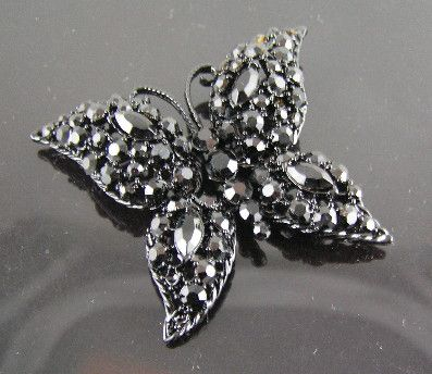 MJ Ent Black Faceted Rhinestones Japanned Butterfly Brooch