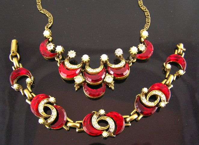 1950's Red Glass Crescent, Rhinestone, and Faux Pearl Necklace & Bracelet Set