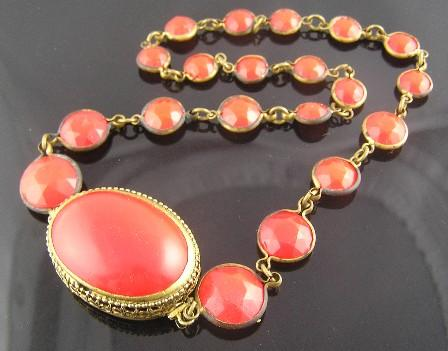 Rich Red Circa 1930's Filigree Clasp Necklace