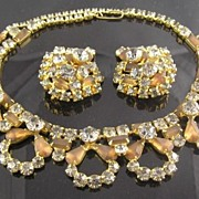 Spectacular Circa 1940's Smoky & Root Beer RS Necklace & Earrings