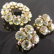 Lovely Swarovski Crystal Fuchsia Aurora Borealis Brooch & Clip Earrings