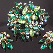 Airy Green & Aurora Borealis Rhinestone Flower & Leaves Brooch & Earrings