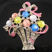 Circa 1930's Pot Metal Flower Basket Brooch