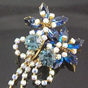 Austrian Floral AB & Navy Marquis Brooch