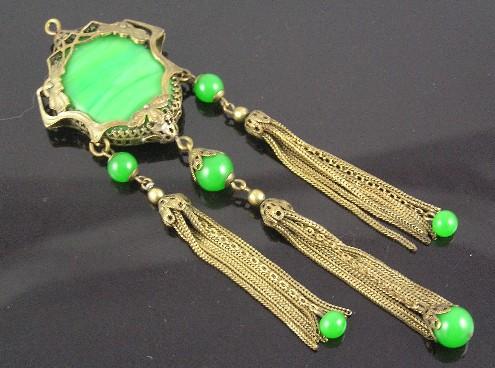 Art Nouveau Malachite & Onyx Pendant